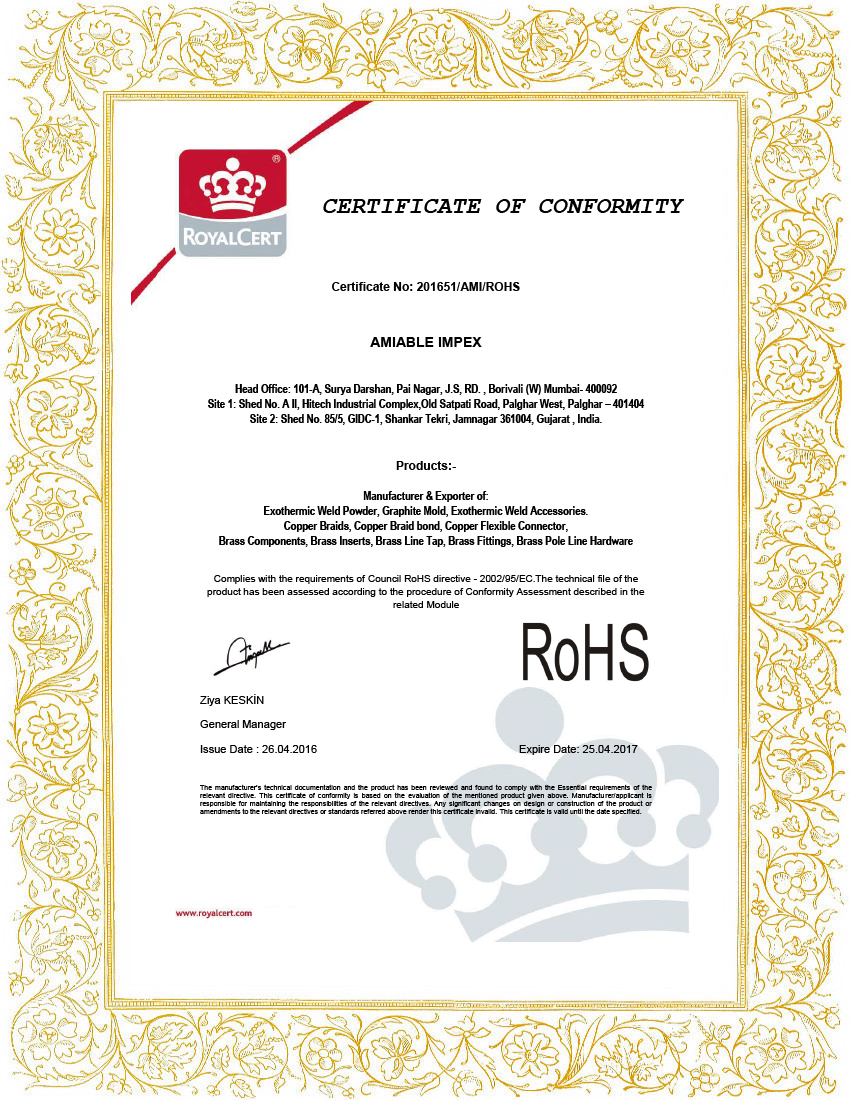 amiable impes- ROHS certificate